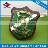 Award Wooden Shield Plaque Gold Plating Shield Metal Hard Enamel Wood Trophy