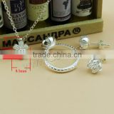 Fashion 925 Sterling Silver Finger Ring Earring Necklace Set Bridal Sterling Silver Jewelry Sets