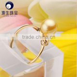 AAA quality new design Simple Japan saltwater pearl rings 18K gold with zircon for girls