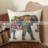 hot sale cotton linen elephant printed Bed Decoration Pillow Case Back Cushion Cover For Sofa