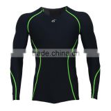Men's Compression Base Layer Long Sleeve Shirts Skin Tight Black