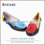 (E1537-102) Studded cross stitch flat soft casual driving moccasin boat loafers with tassel lady leather shoes