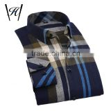 Latest shirts pattern for men fancy plaids printed t-shirt