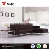 Leather l shaped sofa set steel frame
