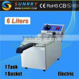Counter-top double chip fryer 1 Tank 1 basket with mini fryer basket and heating element (SY-TF16 SUNRRY)