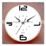 "10"" Square Quartz Wall Clock wooden color"