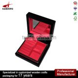 Black lacquer luxury Antique wholesale wooden jewelry box with mirror
