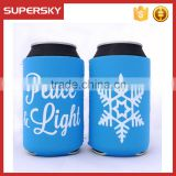 V-591 holiday snowflake christmas drink can cooler bag neoprene collapsible can holder cooler cover