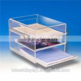 3 tiers excellent craftship lear desktop acrylic newspaper rack/acrylic brochure holder/acrylic magazine rack with drawers