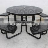 Powder coated steel outdoor picnic table and four benches metal picnic set                                                                                                         Supplier's Choice