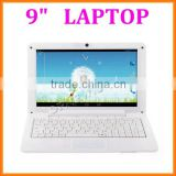 9 inch mini laptop android 4.4 mini pc netbook dual core wm8880 with wifi bluetooth camera rj45 usb2.0 port external 3g in stock