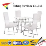 high back white leather chair matching clear tempered glass dining table with square tube chrome legs