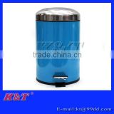 Bright luster stainless steel trash can with arch lid