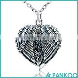 S925 Silver Vintage Wing Pendant, Fashion Heart Shape Photo Frame Locket Pendant Necklace