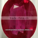 faceted good polished glass treated cheap ruby stone oval shape, Roundel Facet Beads Ruby Glass Filling Genuine Stones, Lab Cert