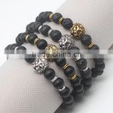 Wholesale Antique Gold Plated Buddha Leo Lion Head Black Lava Stone Beaded Bracelets For Men Women