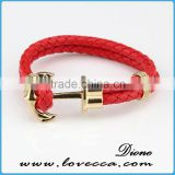 New hot sale fashion custom vintage rose gold hook band charms anchor nautical rope bracelet