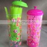 Plastic straw dispenser with printing and100pcs straws,straw holder with printing and 100pcs straws TG20080