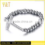 China factory religious cross stainless steel beads bracelets, elastic sideways stainless steel cross beads bracelets (QS-052)