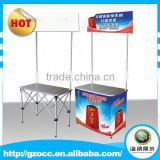 High quality convenien foldable aluminum pop up advertising promotion table for sales promotion taste