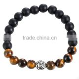 Matte black beads bangle silver lotus with Tiger's eye obsidian Natural crystal jewelry fashion bracelet bead