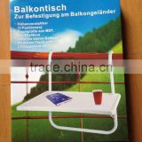 Folding Deck Table Handy Drinks Holder Porch Balcony Rail Pool Outdoor Accessory
