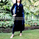 Fashion brand designer long kurtis with front neck crystal buttons navy blue velvet kurti HSD7920
