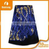 Bestwaytex FL0049 In Royal Blue Color French Cord Lace Silk Chiffon Fabric With Shiny Sequins