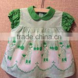 Popular western boutique plaid cotton frocks designs drss photo of baby girls dress for baby wear