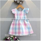 High quality kids boutique clothes ruffle sleeve colorful plaid clothing 2017 wholesale new model designer baby girl dresses