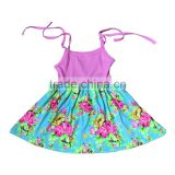 Hot sale summer flower girls cotton skirts pernickety new flower pattern frocks lovely beautiful dresses