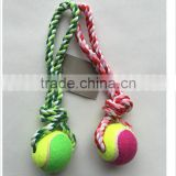 Cheap Cotton Rope Dog Chew Toy Pet Tennis Ball Toy