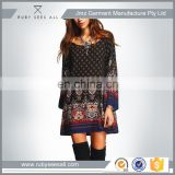 High Quality Female Summer Style Dresses Multicolor Scoop Neck Bell Long Sleeve Vintage Print Shift Short Dress