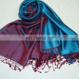 100% silk satin long scarf high end printed personalized design silk scarf with ombre die