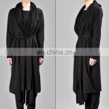 Draped Women's BLACK Long Overlong Oversized Hooded Belted CARDIGAN // Maxi Cardigan Winter Wear Shawl Cardigan