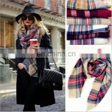 Wholesale Fashion Colorful Plaid Square Pashmina Scarf Shawl