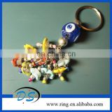 Fashion nice charms key chain with turiksh evil eye key ring in glass beads material