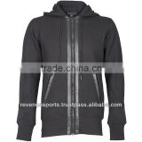 fashion hoodies/leather hoodie/hoodie with front zip/100% cotton hoodie with front zipper
