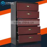 Home Furniture Metal Vintage Color Steel 5 Drawer Bedside Cabinets