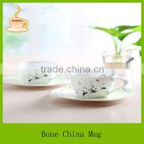 10oz insulated bone china coffee cups with plate,coffee cup with fllower decal wholesale