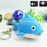 New lovely fish LED flashlight key chain gift phone bag pendant ornaments toys Novelty Lighting Emergency Light Holiday