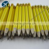 Mini Size 3.5 Inches HB Natural Wooden Pencil With Rubber Yellow Pencil                                                                         Quality Choice