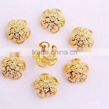 New Arrive!! Fashion bling gold color 10mm flower beads end caps jewelry findings for jewelry end beads!