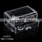 high-quality PS cosmetic storage 2 drawers transparent acrylic makeup box                                                                         Quality Choice
