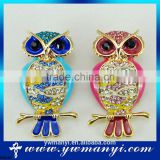 New hot fashion styles k gold color enamel rhinestones owl china wholesale brooch for in zinc alloy jewelry B0046