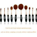 Chinse Factory whosale toothbrush makeup brush set 10pcs rose gold oval makeup brush set