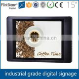 FlintStone 15 inch desk standing digital video player, industrial LCD kiosk screen player, supermarket used ad video player