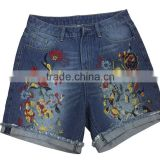 Significant lanky waist wide leg pants wild retro embroidered jeans shorts shorts female large size women