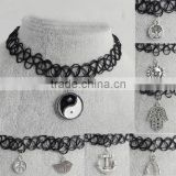 Vintage design black stretch tattoo choker collar necklace with charm