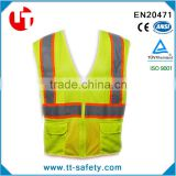 European-American style high visibility fluorescence public police warning reflective vest jacket